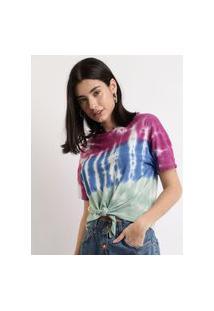 Blusa Feminina Estampada Tie Dye Listrada Com Nó Manga Curta Decote Redondo Multicor