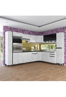 Cozinha Completa Fidelita Abu Dhabi Modulada 10 Peças 473 Cm 17 Portas 3 Gavetas Com Tampo Roble Gris