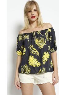 Blusa Ciganinha Com Elástico- Azul Marinho & Amareladimy