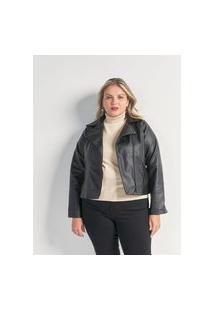 Jaqueta Perfecto Em Material Sintético Curve & Plus Size | Ashua Curve E Plus Size | Preto | Eg