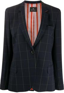 Ps Paul Smith Blazer Xadrez De Alfaiataria - Azul