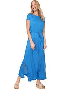 Vestido Cantão Longo Amarração Azul