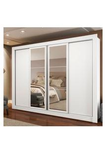 Guarda-Roupa Casal Madesa Alabama 4 Portas De Correr Com Espelhos Branco