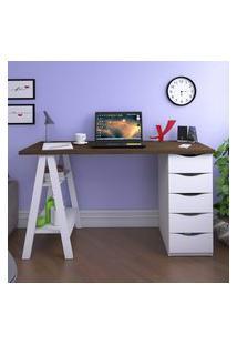 Mesa Escrivaninha Artany Spirit Home Office 5 Gavetas 2 Prateleiras