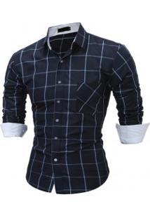 Camisa Masculina Slim Xadrez Manga Longa - Azul Escuro
