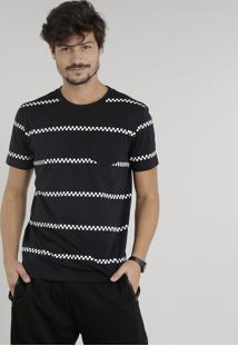 Camiseta Masculina Com Faixas Quadriculadas Manga Curta Gola Careca Preta