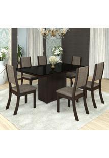 Conjunto Sala De Jantar Mesa Tampo Em Mdf/ Vidro Bella 6 Cadeiras Kiara Viero Choco/Canela