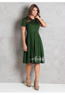Vestido Verde Com Pérolas Moda Evangélica