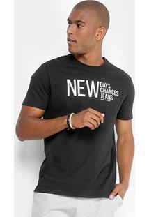 Camiseta Calvin Klein Escrito New Masculina - Masculino-Preto