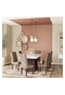 Conjunto De Mesa De Jantar Maria I Com Vidro E 6 Cadeiras Grécia Veludo Chocolate E Off White