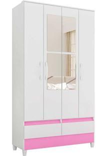 Guarda-Roupa Solteiro Com 4 Portas Ametista-Móveis Albatroz - Branco / Rosa