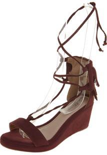Sandália Dafiti Shoes Anabela Franja Vinho