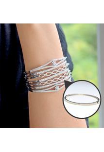 Bracelete Com Zircônias Prata Rodinada