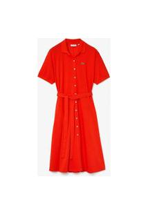 Vestido Lacoste Em Petit Pique Vermelho