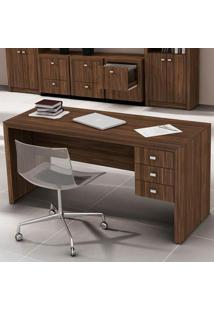 Mesa Para Escritório 3 Gavetas Me4113 Nogal - Tecno Mobili