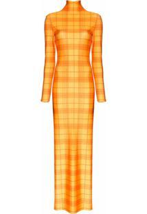 Supriya Lele Vestido Longo Madras Xadrez - Laranja