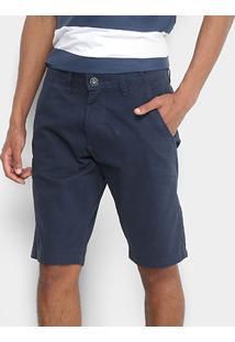 Bermuda Sarja Zamany Color Bolso Faca Masculina - Masculino-Marinho