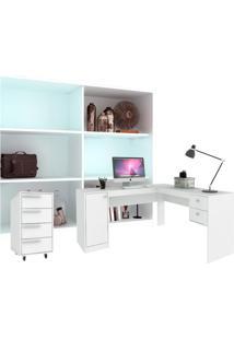 Conjunto De Escritório Em L Home Office Branco