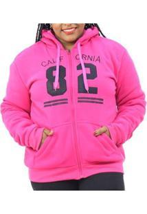 Jaqueta Moletom Plus Size Pelo Interno Capuz Feminina - Feminino