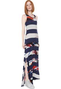 Vestido Desigual Longo Felipe Azul-Marinho/Branco