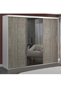 Guarda-Roupa Casal 3 Portas Com 1 Espelho 100% Mdf 1971E1 Branco/Demolição - Foscarini