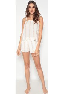 Short Doll Com Bordados- Off White & Marrom Claro- Ccor Com Amor