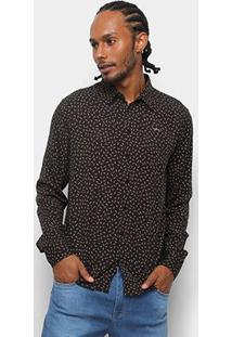 Camisa Colcci Manga Longa Estampada Slim Masculina - Masculino-Marrom+Laranja