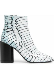 Mm6 Maison Margiela Ankle Boot Com Salto 90Mm - Azul
