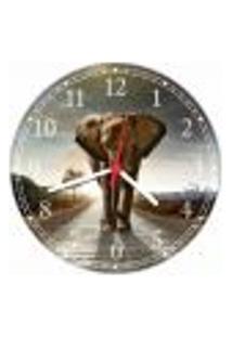 Relógio De Parede Animais Elefante Colorido Decorações Salas