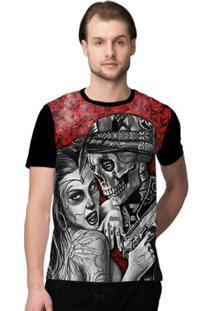 Camiseta Stompy Skull Love - Masculino-Preto+Vermelho