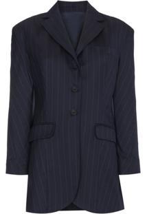 Wright Le Chapelain Blazer Risca De Giz Com Ombreiras - Azul