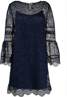 Alberta Ferretti Vestido Com Renda E Bainha Ondulada - Azul