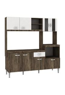 Cozinha Compacta Tati 8 Portas 1 Gaveta Naturalle E Branco Fellicci
