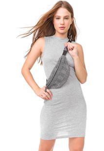 Vestido Fiveblu Curto Canelado Cinza