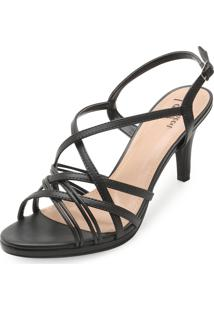 Sandália Lady Queen Tiras Am19-1240447 Preto