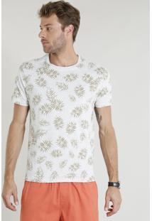 Camiseta Masculina Estampada De Folhagens Manga Curta Gola Careca Cinza Mescla Claro