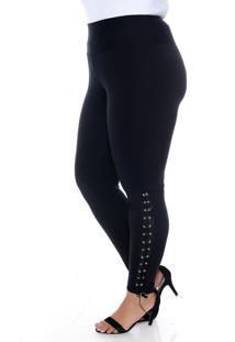 Calça Slim Fashion Legging Plus Size Com Ilhós Fechado Preto