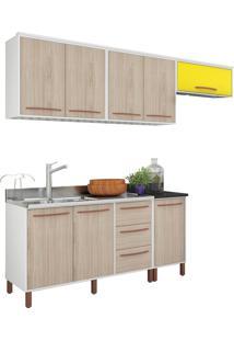 Cozinha Compacta Pistache Branco E Bege E Amarelo Móveis Albatroz