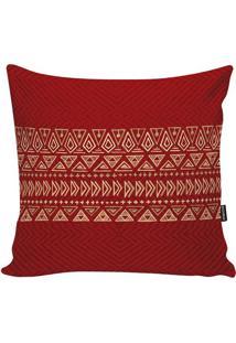Capa Para Almofada African- Vermelho Escuro & Bege- Stm Home