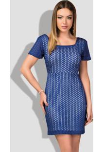 Vestido Em Renda Azul Com Decote Quadrado