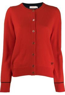 Tory Burch Knitted Logo Cardigan - Vermelho