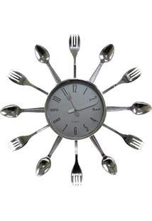 Relógio De Parede Talheres Prateado Z11846605