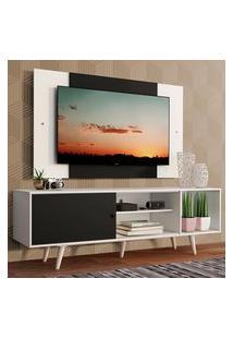 Rack Madesa Dubai Com Pés E Painel Para Tv Até 58 Polegadas - Branco/Preto 73C7 Branco
