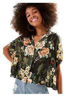 Camisa Cropped Floral Camuflado