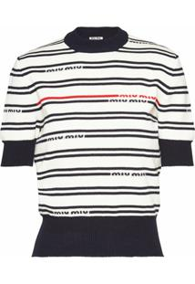 Miu Miu Blusa De Tricô Com Logo - Branco