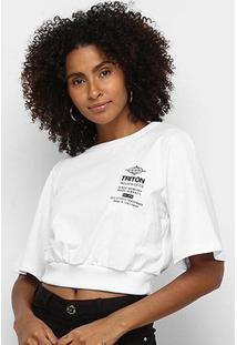 Camiseta Triton Cropped Feminina - Feminino-Branco