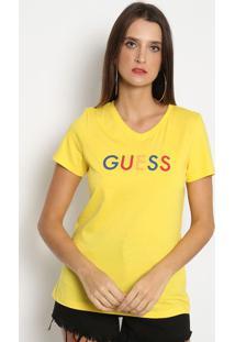 "Blusa ""Guessâ®- Amarela & Azul Marinhoguess"