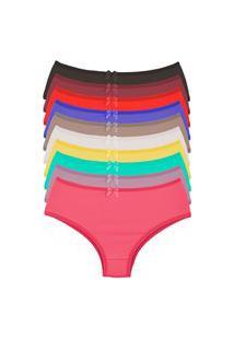 Kit 10 Calcinhas Cós Alto Microfibra Conforto Feminino Multicolorido
