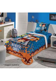 Lepper Edredom Authentic Gamesâ® Solteiro Azul Escuro & Laranja 150X200