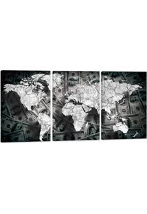 Quadro Mapa Mundi Fundo Dolar 60X120Cm Decoração Escritórios Salas Empresas Oppen House